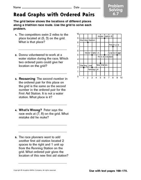 Ordered Pairs Worksheet 5th Grade Read Graphs with ordered Pairs Problem solving 6 7