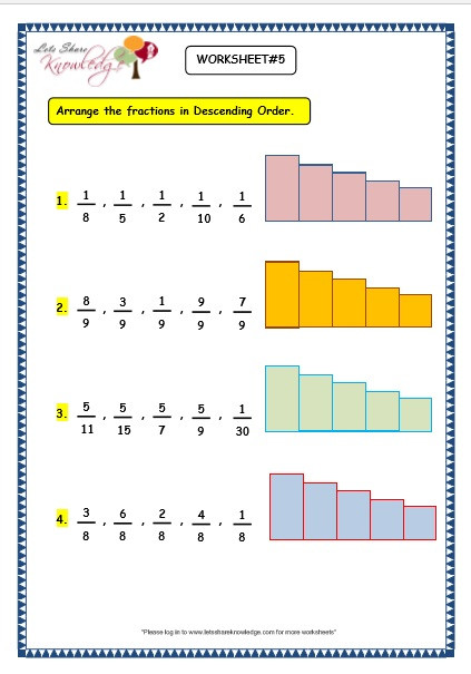 Ordering Fractions Worksheet 4th Grade Grade 3 Maths Worksheets 7 4 ascending and Descending