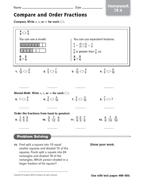 Ordering Fractions Worksheet 4th Grade Pare and order Fractions Homework 19 4 Worksheet for