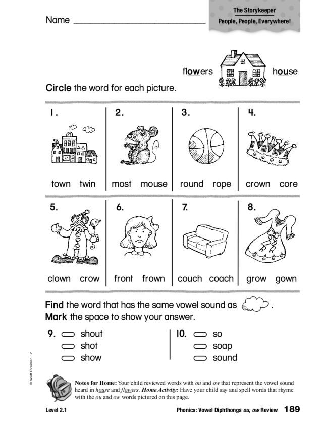 Ou Ow Worksheets 2nd Grade Phonics Vowel Diphthongs Ou Ow Review Worksheet for 1st