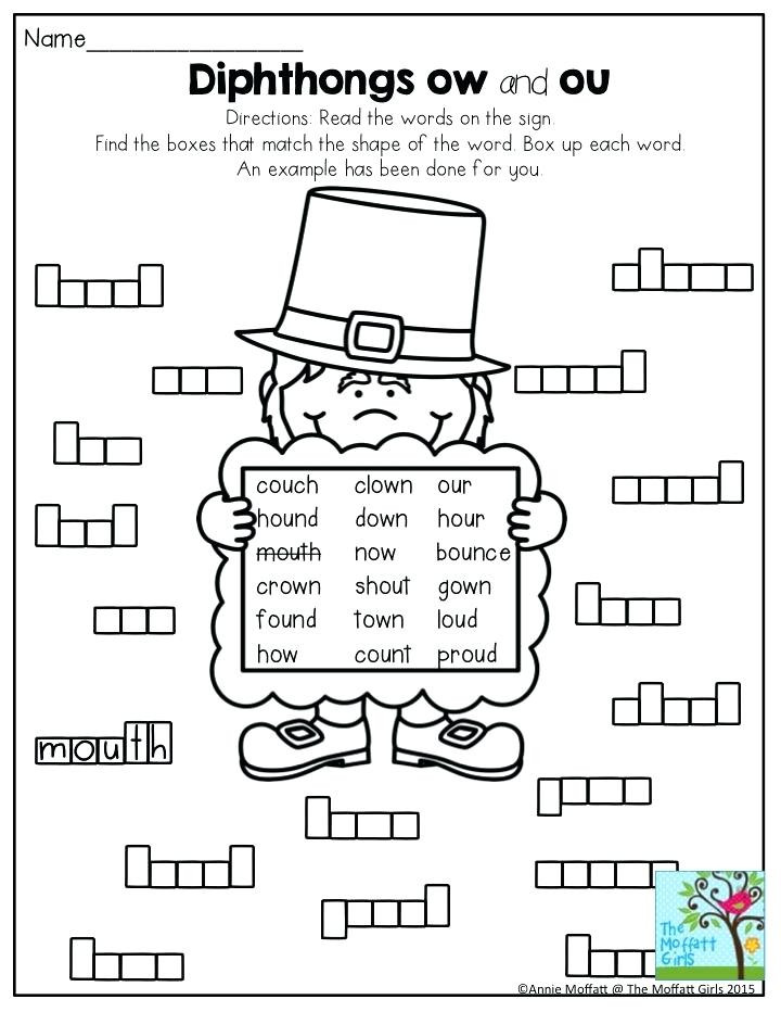 "Ou Ow Worksheets 2nd Grade Words with sound Ow لم يسبق له Ù…Ø ÙŠÙ"" الصور Tier3"
