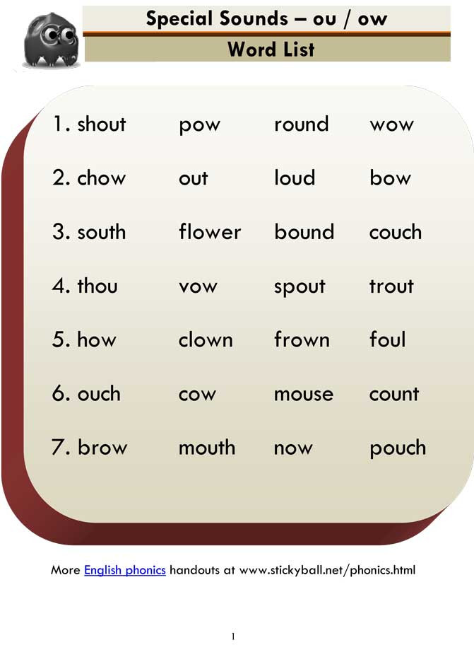 Ou Ow Worksheets 3rd Grade Advanced Phonics Ou Ow Word List and Sentences