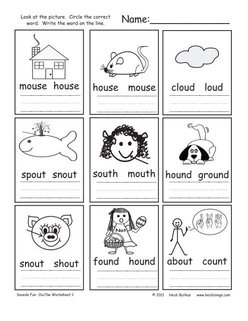 Ou Ow Worksheets 3rd Grade Ou Ow sounds Fun Worksheets Heidi songs