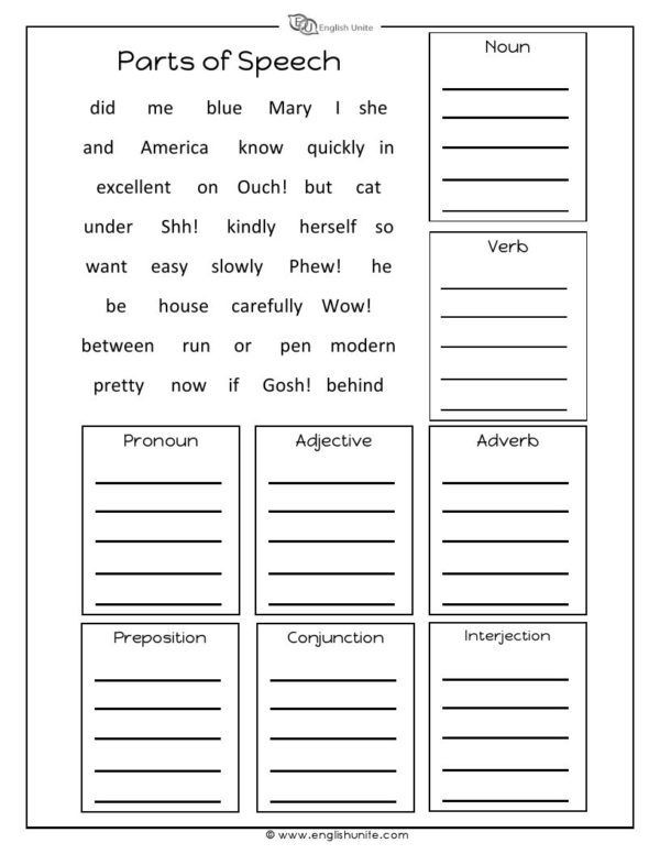 Parts Of Speech Printable Worksheets Parts Of Speech Worksheet
