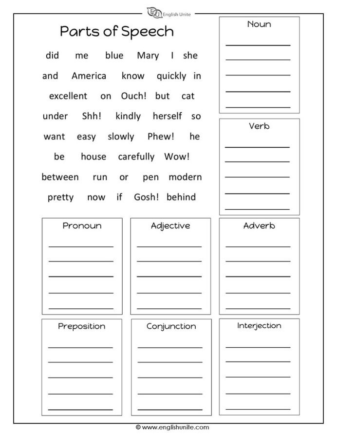 Parts Of Speech Printable Worksheets Parts Speech Worksheet English Unite Worksheets Find the