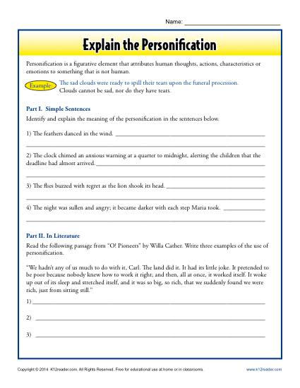 Personification Worksheets 6th Grade Explain the Personification
