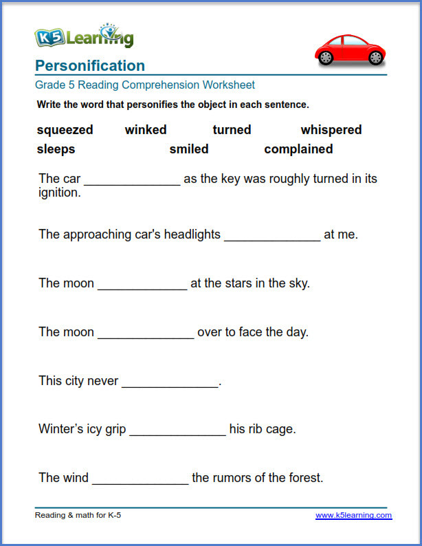 Personification Worksheets 6th Grade Grade Reading Prehension Exercises K5 Learning