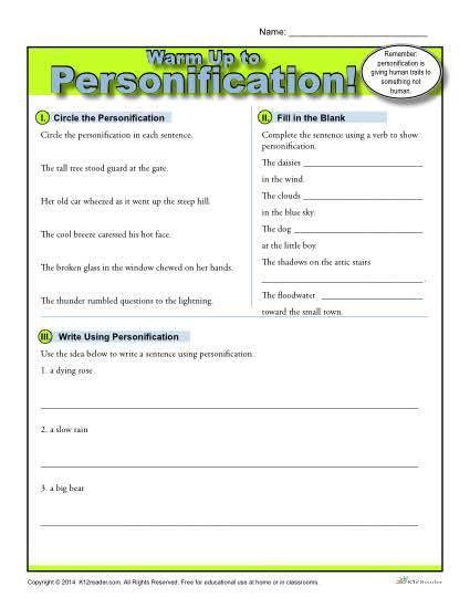 Personification Worksheets 6th Grade Personification Warm Up Activity