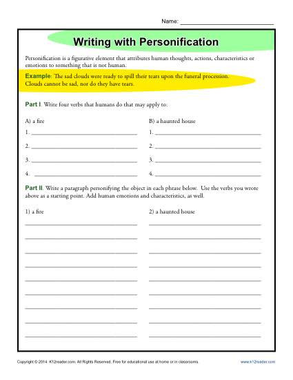 Personification Worksheets 6th Grade Writing with Personification