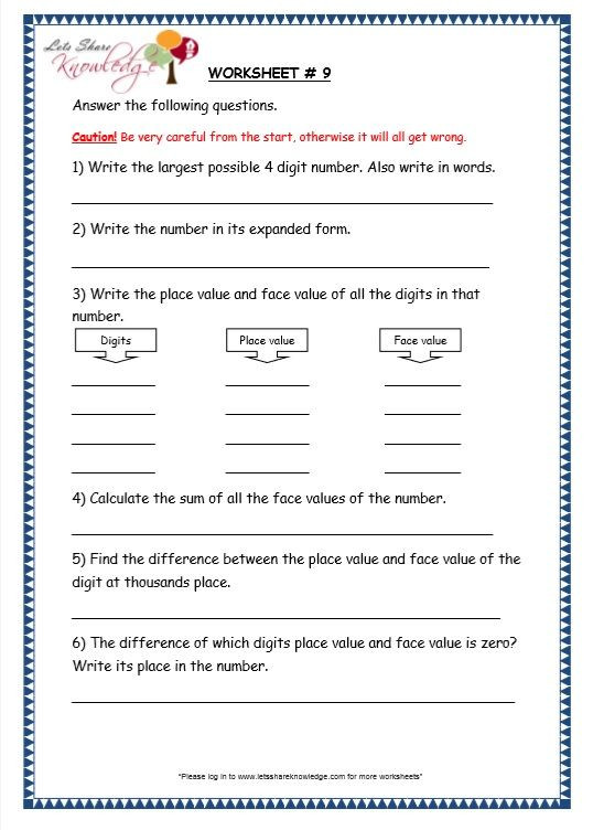 Place Value Worksheet 3rd Grade Grade 3 Maths Worksheets 4 Digit Numbers 1 3 Finding the