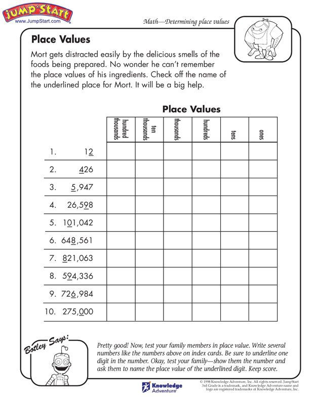"Place Value Worksheet 3rd Grade Place Values"" – 3rd Grade Math Worksheets for Kids On Place"