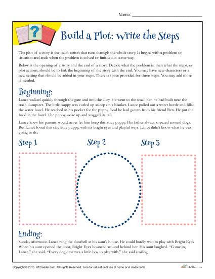 Plot Worksheets 2nd Grade Build A Plot Write the Steps Worksheet