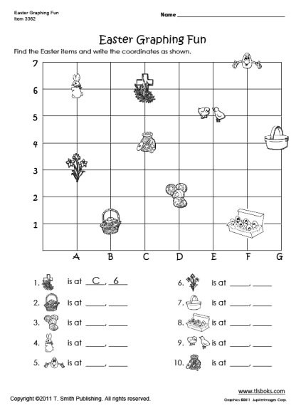 Plot Worksheets 2nd Grade Easter Graphing Worksheet