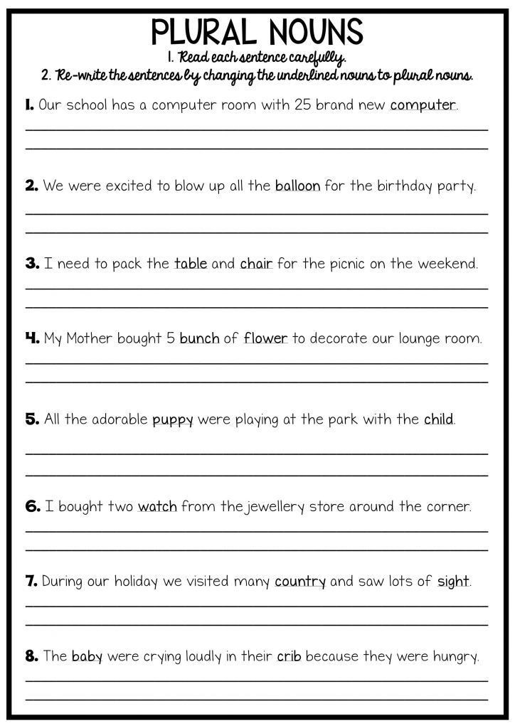 Plurals Worksheet 3rd Grade 3rd Grade Writing Worksheets