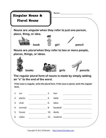 Plurals Worksheet 3rd Grade Singular and Plural Nouns