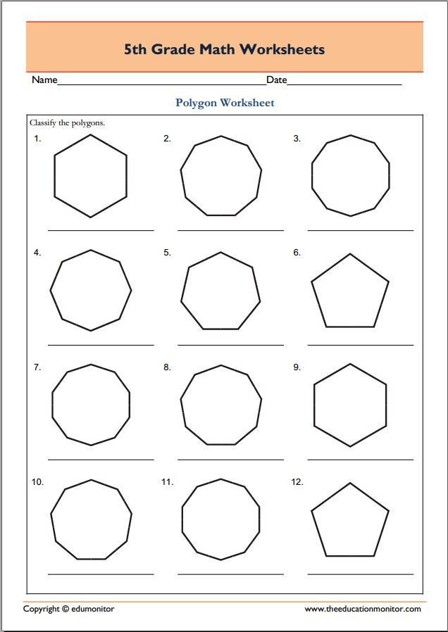 Polygon Worksheets 5th Grade 5th Grade Geometry Math Worksheets Polygons