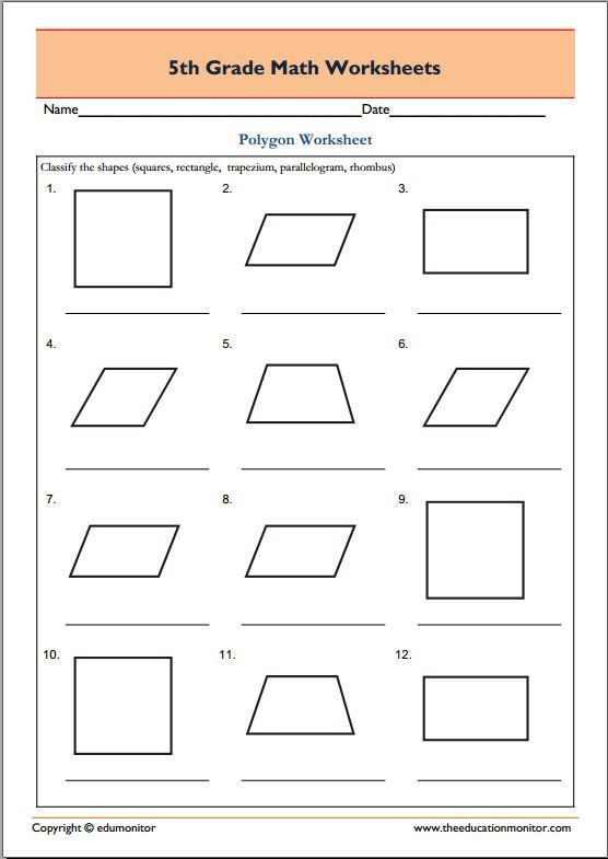 Polygons Worksheets 5th Grade 5th Grade Geometry Math Worksheets Polygons