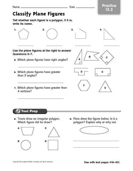 Polygons Worksheets 5th Grade Classify Plane Figures Practice 15 2 Worksheet for 4th