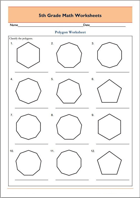 Polygons Worksheets 5th Grade Free 5th Grade Math Worksheets