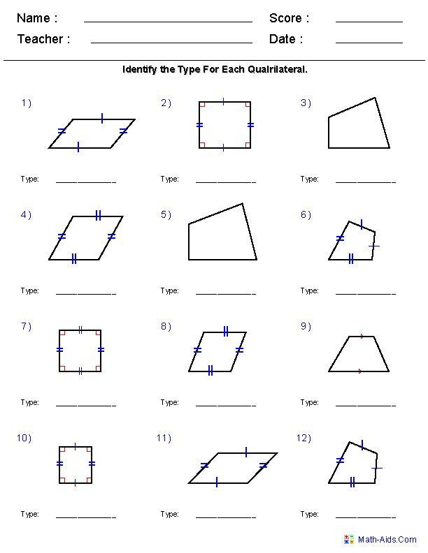 Polygons Worksheets 5th Grade Geometry Worksheets