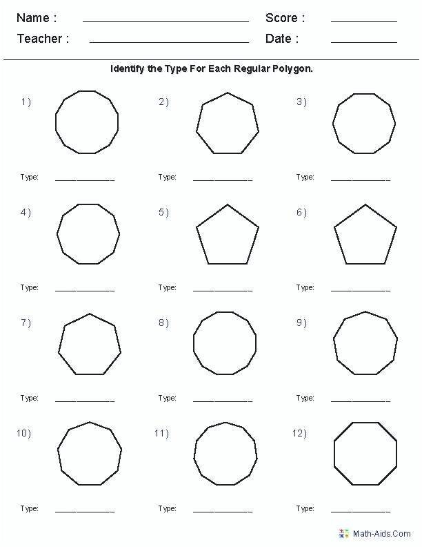 Polygons Worksheets 5th Grade Polygon Worksheets Angles Polygons Printable Geometry