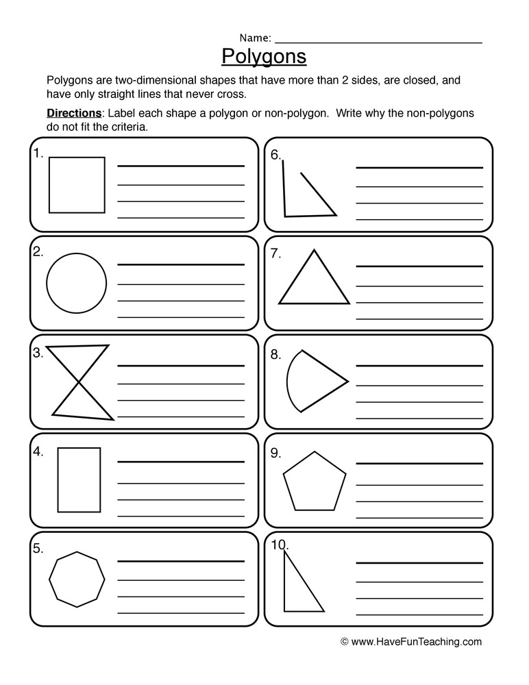 Polygons Worksheets 5th Grade Polygons Worksheet