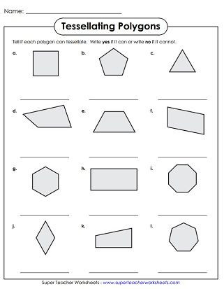 Polygons Worksheets 5th Grade Tessellation Polygons Worksheet