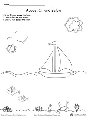 Positional Words Worksheet for Kindergarten Drawing Objects and Below