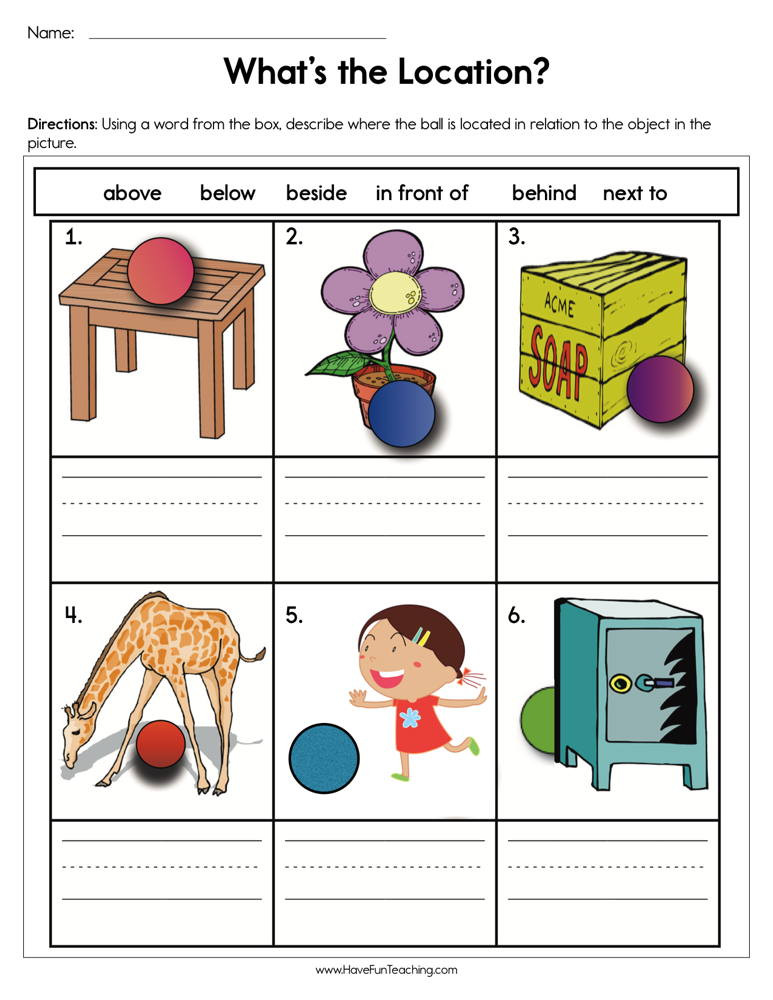 Positional Words Worksheet for Kindergarten What S the Location Worksheet