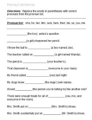Possessive Pronoun Worksheet 3rd Grade Free Printable Pronoun Worksheets