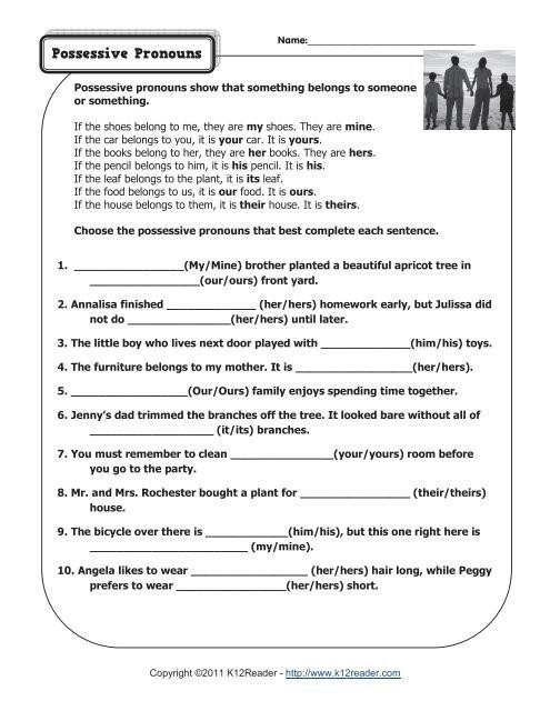 Possessive Pronoun Worksheet 3rd Grade Possessive Pronouns
