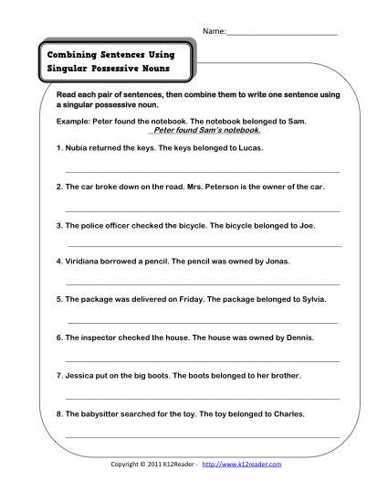 Possessive Pronoun Worksheet 3rd Grade Singular Possessive Nouns