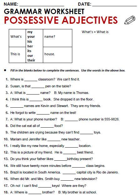 Possessive Pronouns Worksheet 5th Grade Quality Esl Grammar Worksheets Quizzes and Games From A
