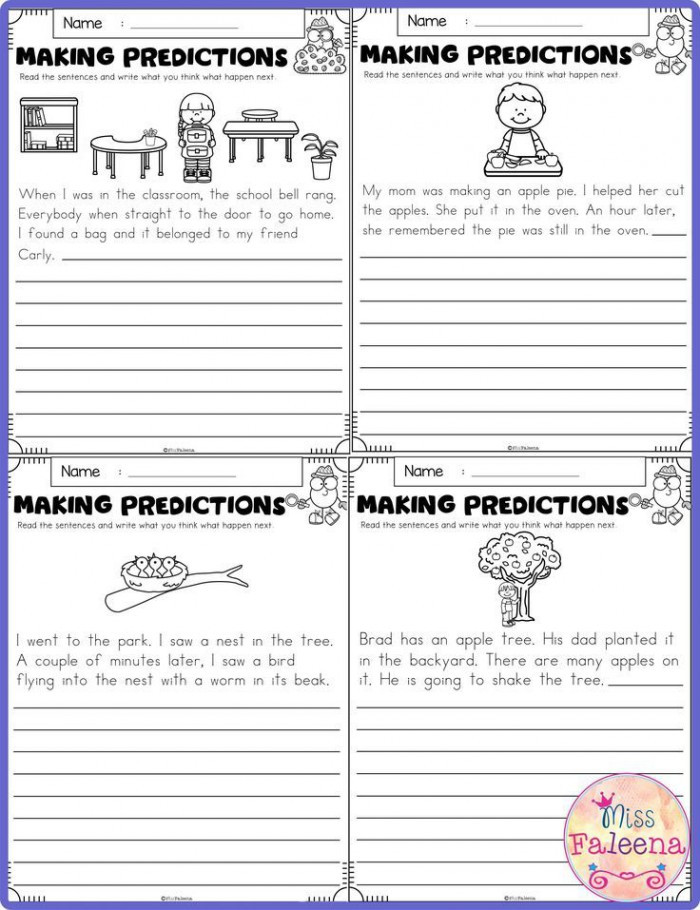 Predictions Worksheets 1st Grade Learning to Make Predictions Worksheets