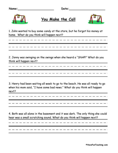 Predictions Worksheets 1st Grade Predictions Worksheets • Have Fun Teaching