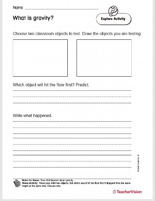 Predictions Worksheets 3rd Grade What is Gravity Printable 2nd Grade Teachervision
