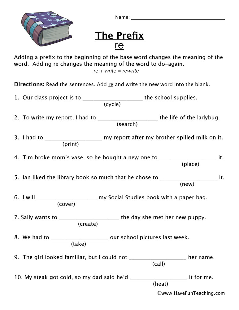 Prefixes Worksheets 3rd Grade Prefix Re Worksheet