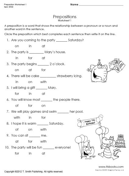 Preposition Worksheets for Grade 1 Preposition Worksheet 1