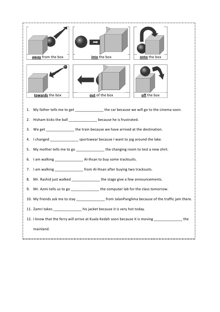 Preposition Worksheets for Grade 1 Preposition Worksheet Year 4
