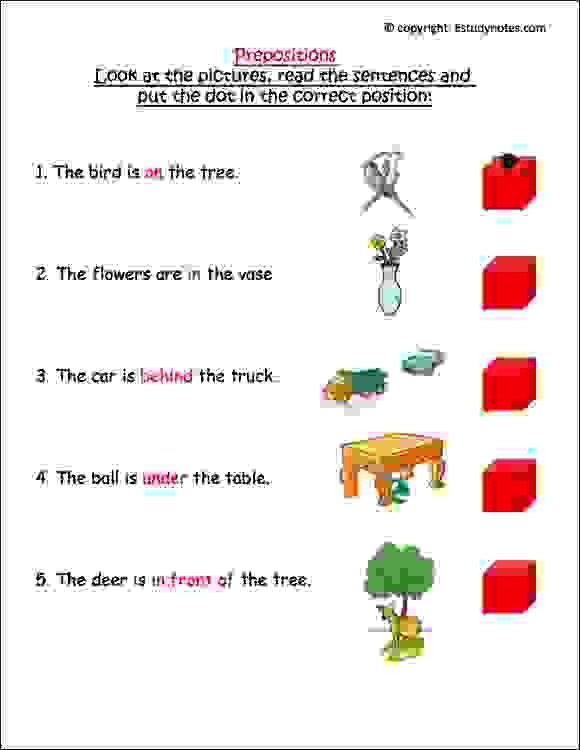 Preposition Worksheets for Grade 1 Prepositions Worksheet 2 Estudynotes