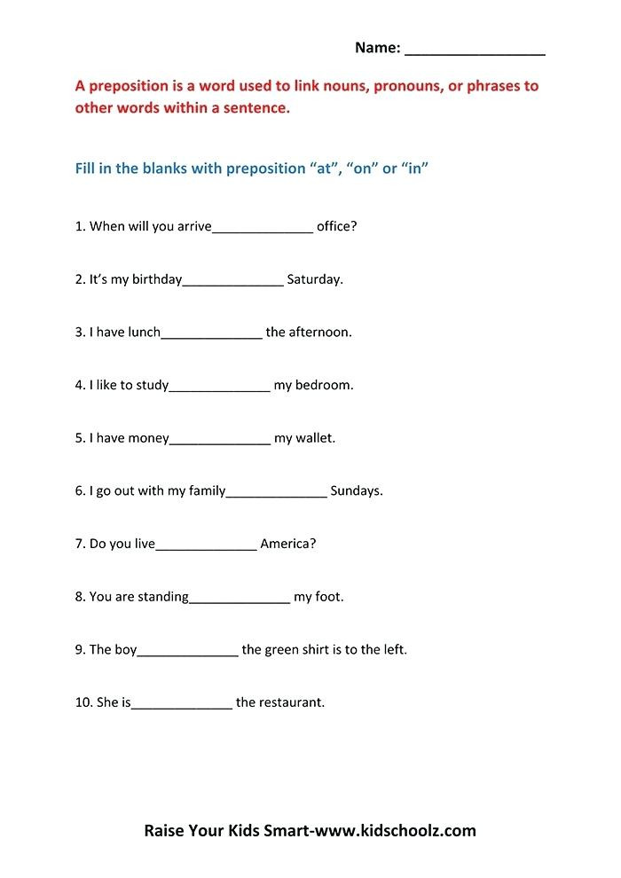 Preposition Worksheets for Grade 1 Worksheets On Prepositions for Grade 1 – Dailycrazynews