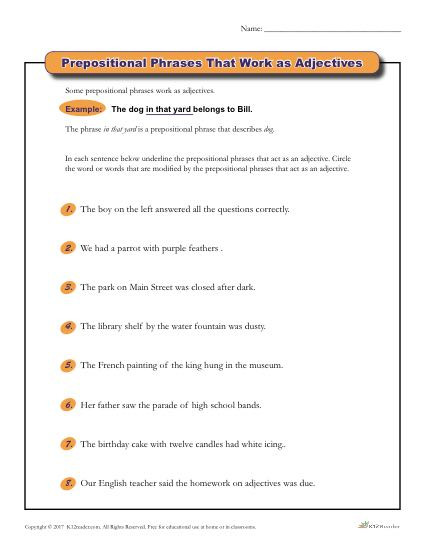 Prepositional Phrase Worksheet 4th Grade Prepositional Phrases that Work as Adjectives