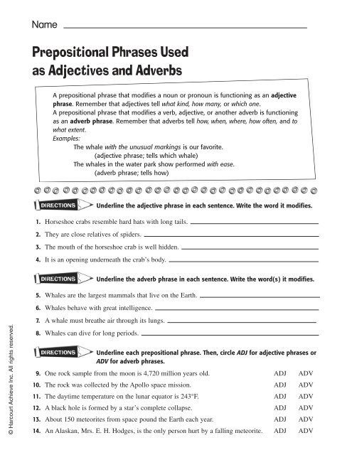 Prepositional Phrase Worksheet 4th Grade Prepositional Phrases Used as Adjectives and Adverbs