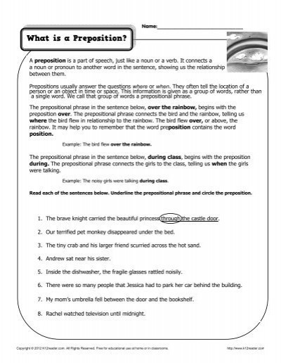Prepositional Phrase Worksheet 4th Grade What is A Preposition