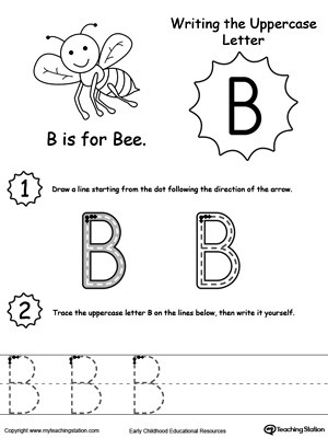 Preschool Worksheets Letter B Writing Uppercase Letter B