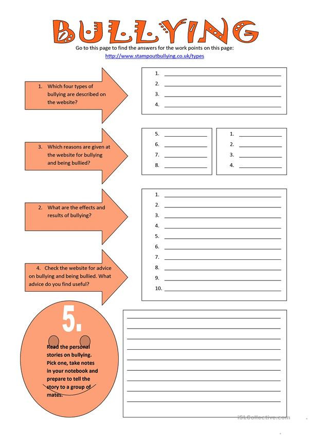 Printable Bullying Worksheets Bullying English Esl Worksheets for Distance Learning and