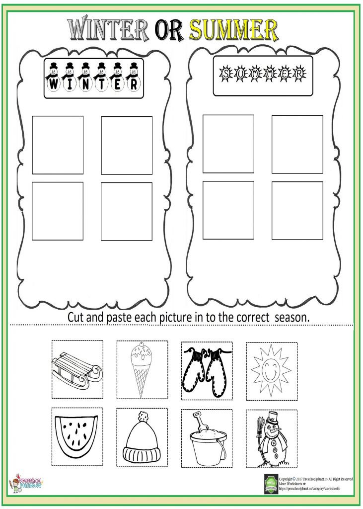 Printable Cut and Paste Worksheets Cut and Paste Season Worksheet – Preschoolplanet
