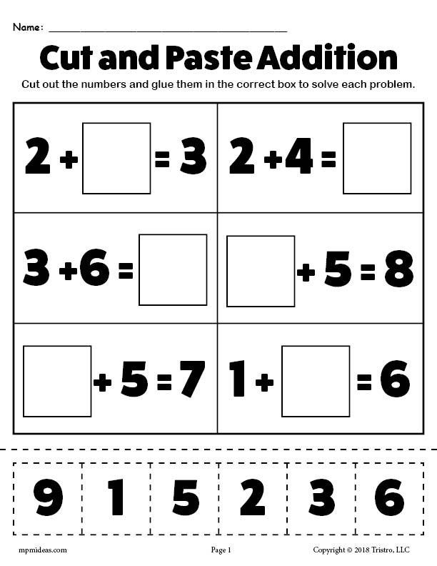 Printable Cut and Paste Worksheets Printable Cut and Paste Addition Worksheet