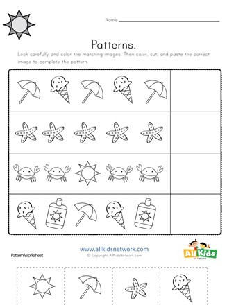 Printable Cut and Paste Worksheets Summer Cut and Paste Patterns Worksheet