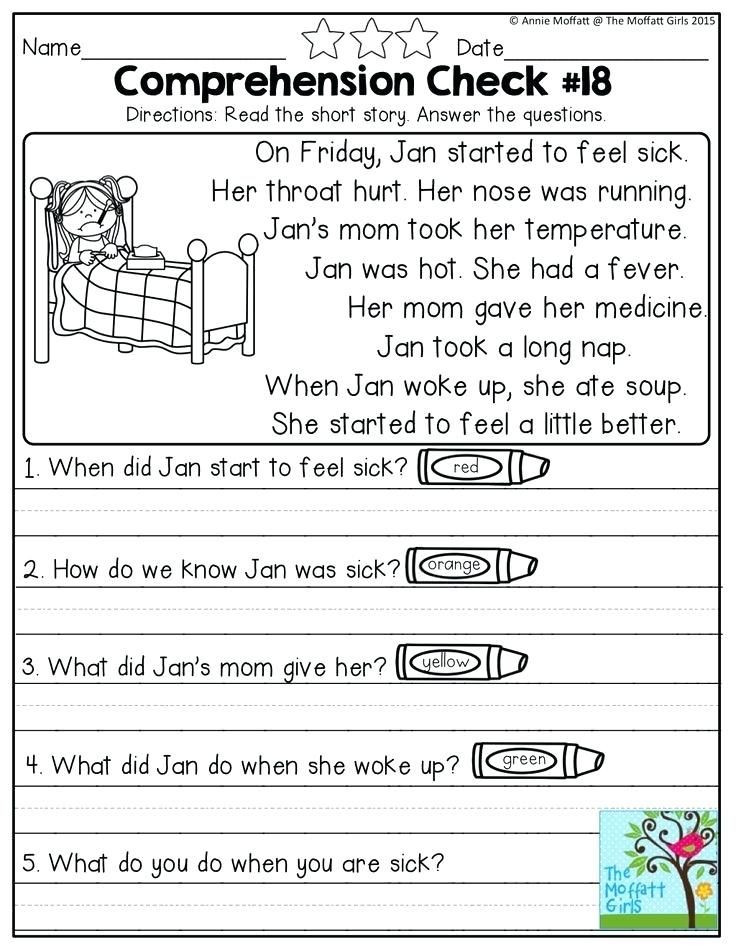 Printable First Grade Reading Worksheets Reading Prehension Checks for No Prep Second Grade Simple
